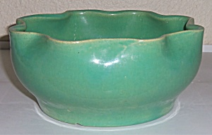 Garden City Pottery Green Ruffled Rim Art Bowl! (Image1)