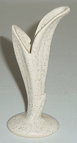 "Bauer Pottery White Speckle 4"" Bud Vase! (Image1)"
