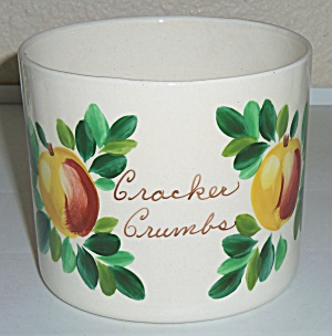 Bauer Pottery Fruit Decorated Cracker Crumb Jar! (Image1)