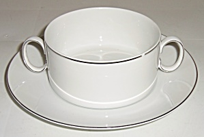 Thomas China Platinum Band Cream Soup W/Saucer! (Image1)