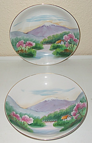 Oriental China Hand Decorated Mt Fuji Pr Soup Bowls! (Image1)