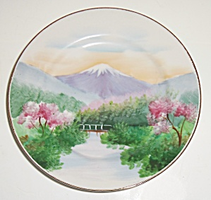 Oriental China Hand Decorated Mt Fuji Bread Plate! (Image1)