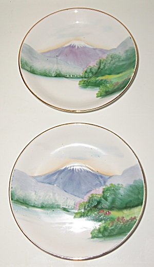 Oriental China Hand Decorated Mt Fuji Pair Saucers! (Image1)