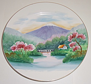 Oriental China Hand Decorated Mt Fuji Dinner Plate! (Image1)