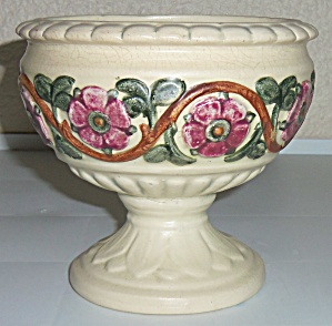 Weller Pottery Roma Floral Decorated Compote! (Image1)