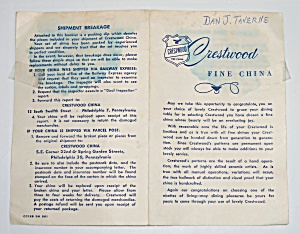 Crestwood China Company Fine China Brochure! (Image1)
