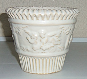 "Roseville Pottery Ivory #580-4"" Flower Pot! (Image1)"