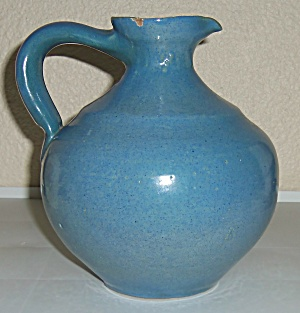 Early Lange Pottery Wheel Thrown Blue Carafe!  RARE! (Image1)