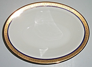 Pope Gosser China Gold W/cobalt Band Vegetable Bowl
