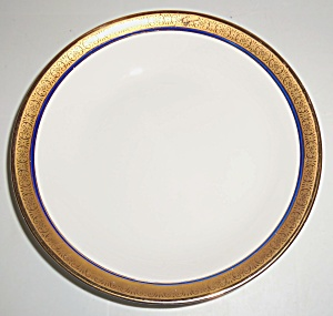 Pope Gosser China Gold w/cobalt Coupe Soup Bowl! (Image1)