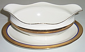 Pope Gosser China Gold w/cobalt Band Gravy Bowl! (Image1)