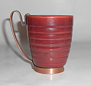 Bauer Pottery Ring Ware Burgundy Barrel Tumbler/Handle! (Image1)