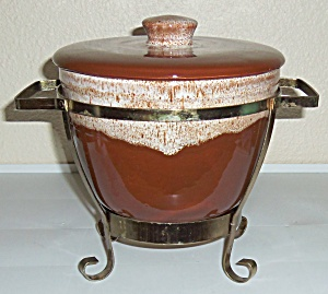 Watt Pottery Orchard Ware Ice Bucket W/Metal Rack! (Image1)