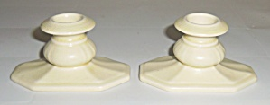 Cowan Pottery Ivory Pair Candlstick Holders