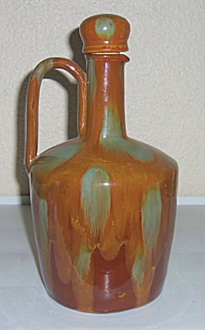 Switzerland Art Pottery Brown Flambe Musical Jug W/Cap! (Image1)