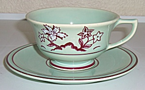 Franciscan Pottery Tiger Flower Cup & Saucer Set Mint