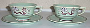 Franciscan Pottery Tiger Flower 2 Cup & Saucer Sets