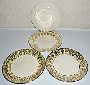 Taylor Smith Taylor Yellow W/gold Set/4 Bread Plates