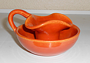 Bauer Pottery Matt Carlton Orange Candlestick Holder (Image1)