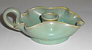 Fulper Pottery Wheel Thrown Green Candlestick Holder! (Image1)