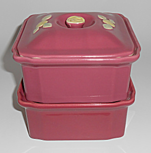 Coors Pottery Rosebud Red Refrigerator 3-pc Set Mint (Image1)