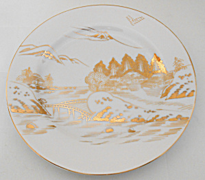 Kutani China Porcelain Gold Countryside Dinner Plate! (Image1)
