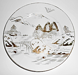 Kutani China Porcelain Gold Countryside Bread Plate! (Image1)