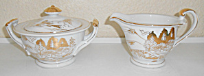 Kutani China Porcelain Gold Countryside Creamer/Sugar! (Image1)