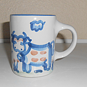M A Hadley Pottery Cow W/Bell Decorated Large Mug! (Image1)