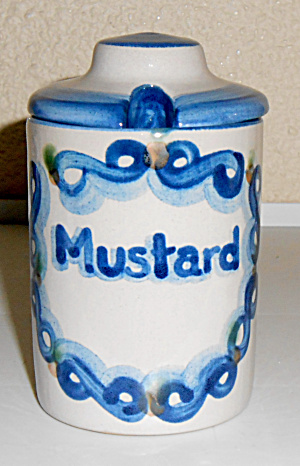 M A Hadley Pottery Decorated Mustard Jar W/Lid! (Image1)