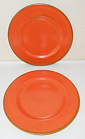 Metlox Pottery Series 200 Pair Poppy Orange Plates! (Image1)
