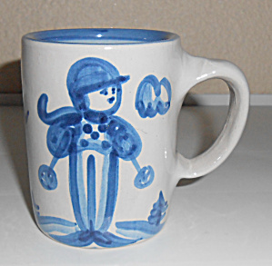 M A Hadley Pottery Blue/White Skier Coffee Mug! (Image1)