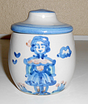 M A Hadley Pottery Dutch Girl Decorated Covered Jar