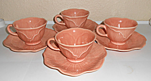 Metlox Pottery Poppy Trail Lotus Set/4 Peach Cup/saucer