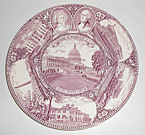 Adams China Washington D.C. Martha & George Plate!      (Image1)