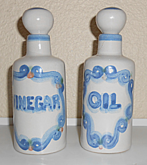 M A Hadley Pottery Vinegar & Oil Cruet Set W/Stoppers! (Image1)