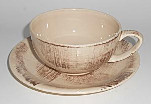 Vernon Kilns Pottery Barkwood Cup & Saucer Set!  (Image1)