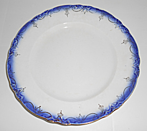 Flow Blue Imperial China Dinner Plate With Gold Decorat