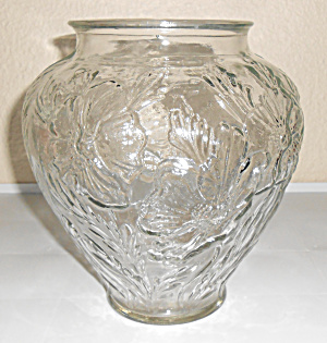 "Tiffin Glass Clear 8-5/8"" Poppy Vase Mint"