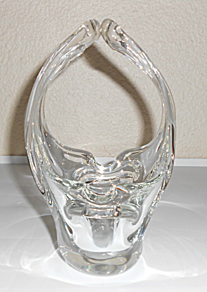 Murano Art Glass Clear Looping Handles Ashtray/basket