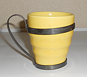 Franciscan Pottery El Patio Yellow Banded Tumbler W/met