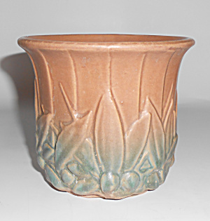Nelson Mccoy Pottery Tan/green 5.25 Early Jardiniere