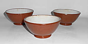Weller Pottery Early Utility Ware Set/3 Rice Bowls