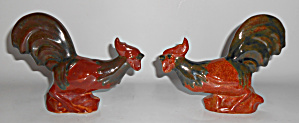 Rosemeade Pottery Pair Large Fighting Roosters