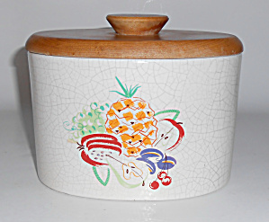 Barbara Willis Pottery Fruit Decorated Small Canister  (Image1)