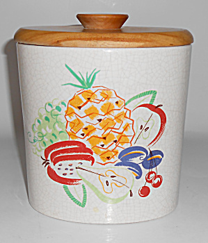 Barbara Willis Pottery Fruit Decorated Large Canister  (Image1)