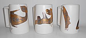 Sascha Brastoff Pottery Mayan/Aztec Gold Set/3 Tankards (Image1)