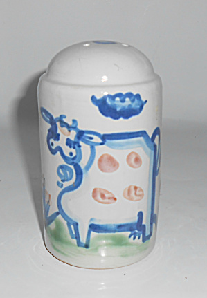 M A Hadley Pottery Cow Decorated Oversize Salt Shaker ! (Image1)