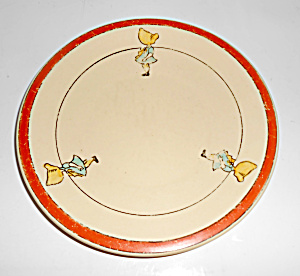 Roseville Pottery Juvenile Girl Decorated Baby Plate!  (Image1)