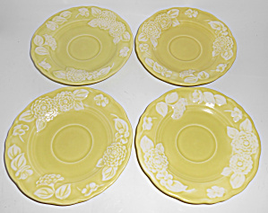 Metlox Pottery Poppy Trail Flora Lace Set/4 Saucers